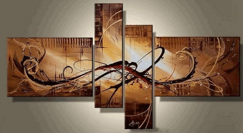 Canvas Art Painting, Abstract Art, Wall Art, Acrylic Art, 4 Pannel Wall Art, Canvas Painting, 100% Hand Painted Art, Group Art - Art Painting Canvas