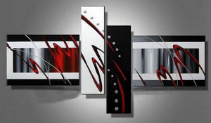 Abstract Lines Painting, Canvas Art Painting, Acrylic Art, 4 Panel Wall Art, 100% Hand Painted Art