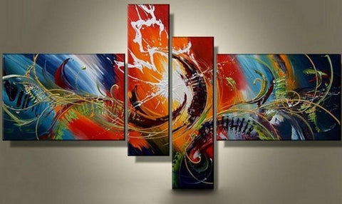 Acrylic Art, Large Wall Art, 4 Panel Wall Art, Abstract Lines Art, Canvas Painting, 100% Hand Painted Art - Art Painting Canvas