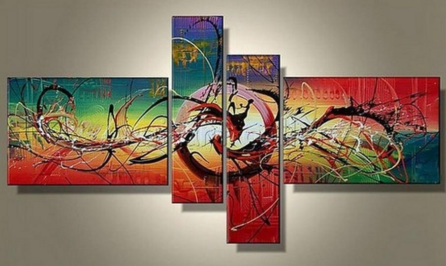 Wall Art, Acrylic Art, Abstract Lines Painting, Abstract Art, 4 panel Wall Art, Canvas Painting, 100% Hand Painted Art, Group Art