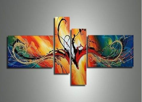 Modern Art on Canvas, 4 Piece Canvas Art, Abstract Art, Acrylic Painting, Contemporary Art for Sale