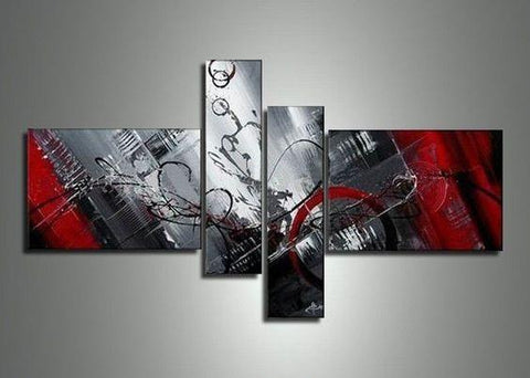 4 Piece Canvas Art, Abstract Art, Oil Painting for Sale, Black and Red Painting, Contemporary Art