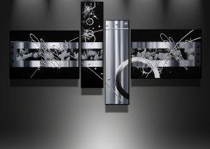 Abstract Art, Black and White Painting, Acrylic Art, 4 Piece Wall Art, Buy Painting Online