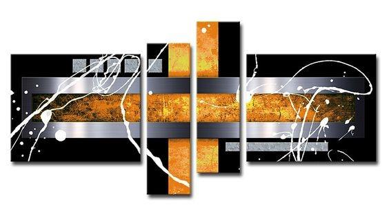 Black and Yellow, Silver Canvas Painting, Abstract Painting, Modern Art, 4 Piece Abstract Art, Wall Art for Sale