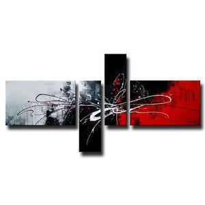 4 Piece Canvas Art, Huge Art, Abstract Art on Sale, Black and Red Canvas Painting, Buy Art Online