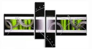 Black and White, Green Canvas Wall Art, Abstract Art, 4 Piece Canvas Art, Contemporary Wall Art