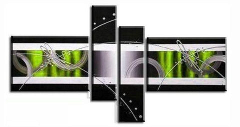 Black and White, Green Canvas Wall Art, Abstract Art, 4 Piece Canvas Art, Contemporary Wall Art - Art Painting Canvas