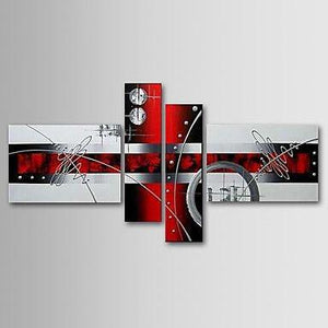 Black and Red Abstract Painting, Modern Wall Art, Acrylic Art, 4 Piece Wall Art - Art Painting Canvas