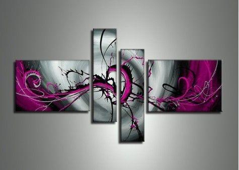 Black and Purple Canvas Wall Art, Abstract Painting, Buy Art Online, Acrylic Art, 4 Piece Wall Art - Art Painting Canvas