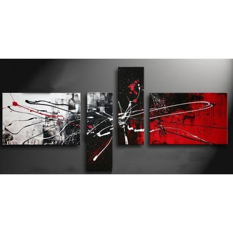 Abstract Art, Black and Red Canvas Wall Art, Abstract Painting for Sale, Modern Wall Art, 4 Piece Canvas Art