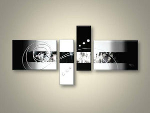 Abstract Art, 4 Piece Canvas Art, Black and White Canvas Wall Art, Abstract Oil Painting, Modern Wall Art - Art Painting Canvas