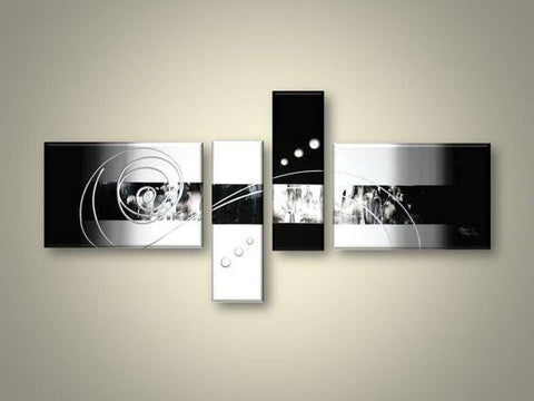 Abstract Art, 4 Piece Canvas Art, Black and White Canvas Wall Art, Abstract Oil Painting, Modern Wall Art