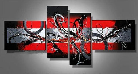 Abstract Art, Black and Red Wall Art, Modern Art, Extra Large Wall Art