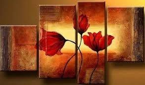 Abstract Art Set, Living Room Wall Art, Extra Large Painting, 4 Piece Abstract Painting, Flower Art, Contemporary Artwork - Art Painting Canvas