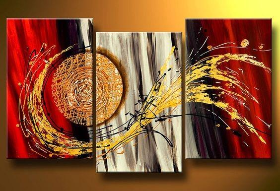3 Piece Canvas Art, 3 Panel Wall Art, Hand Painted Art Painting for ...
