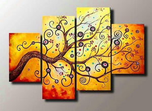 Abstract Art Painting, Extra Large Painting, Tree of Life Canvas Art, Modern Art, Extra Large Wall Art, 4 Piece Canvas Art