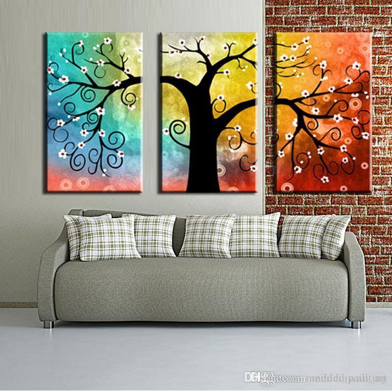Abstract Art, 3 Piece Canvas Art, Tree of Life Painting, Canvas Painting, Group Art Set - Art Painting Canvas