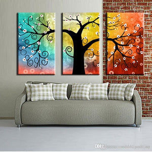 Abstract Art, 3 Piece Canvas Art, Tree of Life Painting, Canvas Painting, Group Art Set