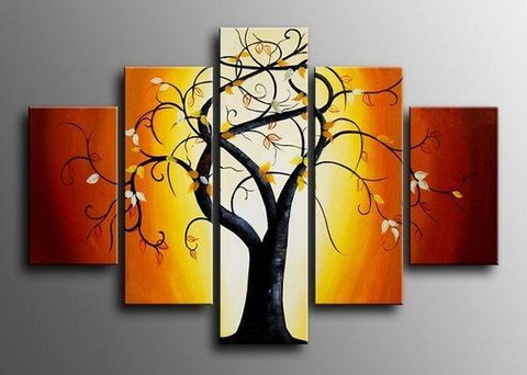 Abstract Art, Extra Large Wall Art Set, 5 Piece Canvas Art, Tree of Life Painting