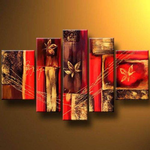 Abstract Flower Painting, Red Canvas Painting, Extra Large Wall Art, Acrylic Art, 5 Pannel Painting Set - Art Painting Canvas