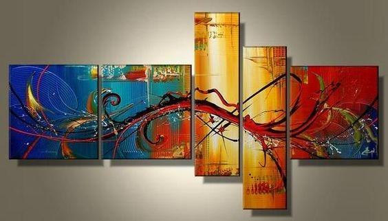 Large Wall Art, Abstract Painting, Huge Wall Art, Acrylic Art, 5 Panel Wall Painting, Hand Painted Art, Group Painting