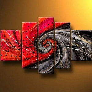 Abstract Painting, Red Canvas Painting, Wall Art Set, Extra Large Art, 5 Pannel Wall Painting