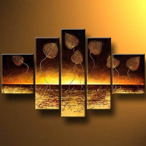 Abstract Art, Abstract Painting, Golden Leaves Painting, Canvas Painting, Wall Art Set, Large Canvas Art