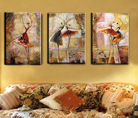 Abstract Art, Ballet Dancer Painting, Canvas Painting Set, 3 Pannel Wall Art, Large Painting, Buy Art Online