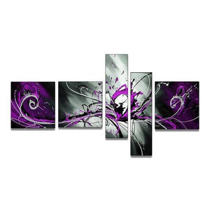 Hand Painted Art, Group Painting, Purple and Black Abstract Art, 5 Piece Wall Painting, Large Wall Art, Abstract Painting, Huge Wall Art, Acrylic Art