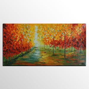 Autumn Landscape, Abstract Art, Contemporary Art, Original Oil Painting, Abstract Canvas Art, Landscape Painting, Wall Decor, Art Decor, Large Abstract Art