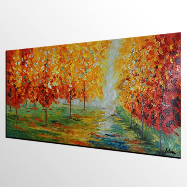 Landscape Painting, Oil Painting, Palette Knife Painting, Original Oil Painting, Landscape Oil Painting, Autumn Landscape Oil Paintin