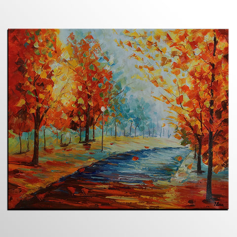 Autumn Forest, Landscape Oil Painting, Family Wall Decor, Canvas Art, Abstract Painting, Original Painting, Master Bedroom Decor, Modern Painting, Knif