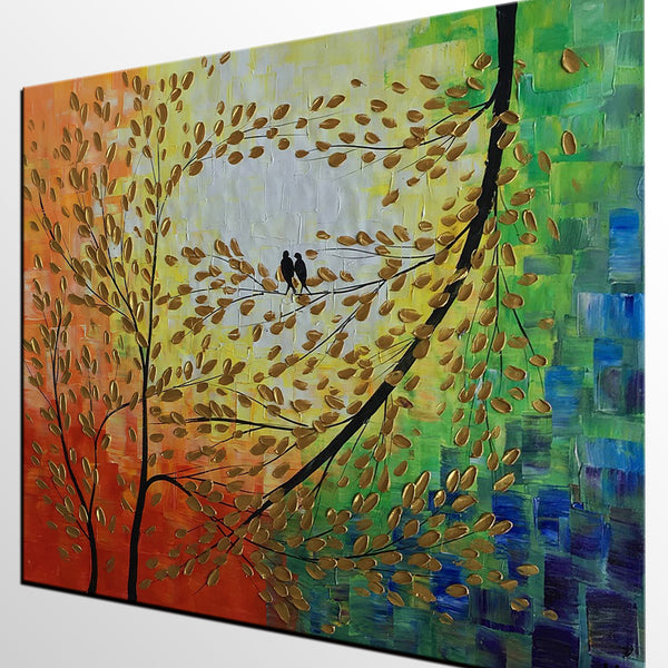 Acrylic Painting, Love Birds Painting, Modern Painting, Flower Painting, Abstract Canvas Painting, Birds Art, Painting Abstract, Large Abstract Art, Tree Painting - Art Painting Canvas