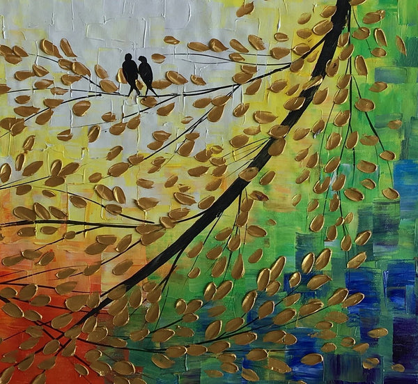 Acrylic Painting, Love Birds Painting, Modern Painting, Flower Painting, Abstract Canvas Painting, Birds Art, Painting Abstract, Large Abstract Art, Tree Painting