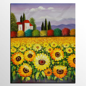 Sunflower Oil Painting, Large Landscape Painting, Canvas Painting, Large Canvas Art, Original Oil Painting, Large Canvas Wall Art