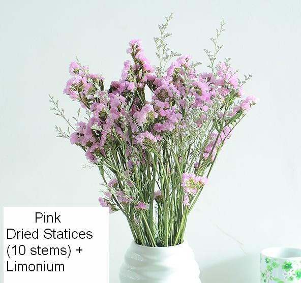 A Bunch Dried Statices Flowers with Limoniums, Dried Flowers, Flower Bunches, Dried Floral