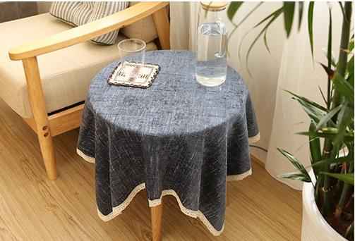 Flocked Light Grey/Deep Blue/Light Green/Brown Tablecloth for Dining Table, Tea Table, Cabinit, Bedstand