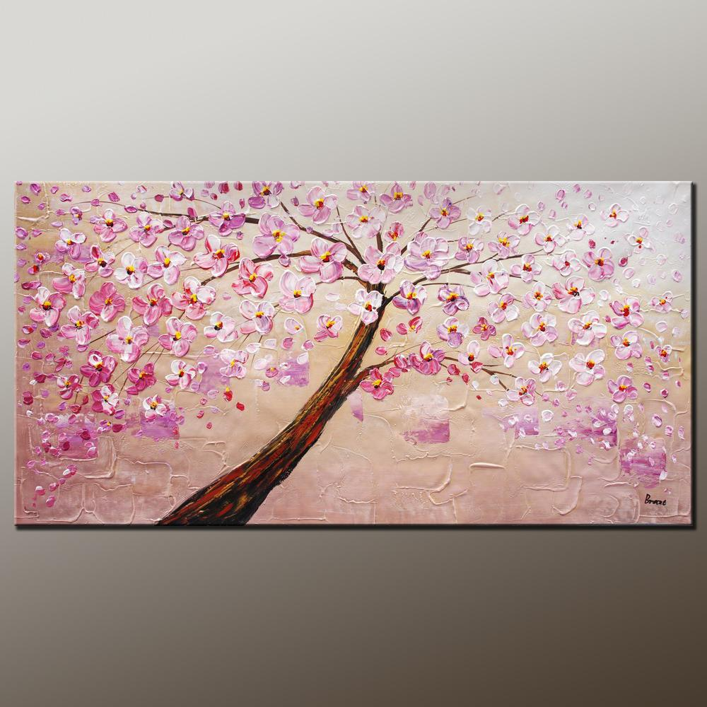 Contemporary Art, Modern Art, Tree Painting, Oil Painting, Flower Painting, Bedroom Wall Art, Heavy Texture Painting, Bedroom Wall Art, Canvas Art