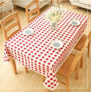Red Trellis Design Rectangle and Round Tablecloth for Dining Table, Tea Table