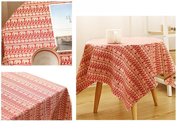 Blue / Red Elephant Pattern Rectangle and Round Tablecloth for Dining Table, Tea Table - Art Painting Canvas