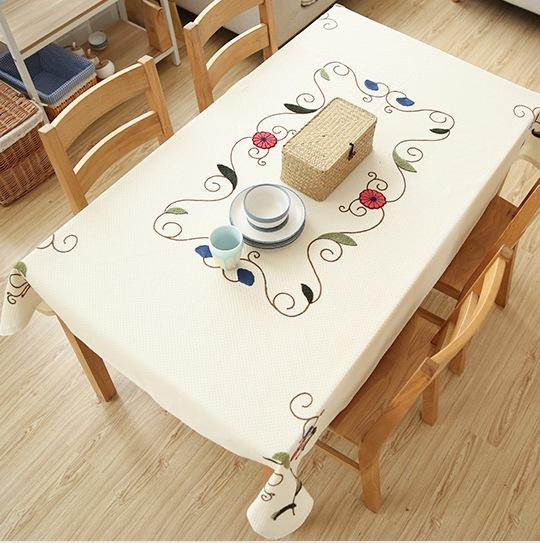 Cotton Embroidered Rectangle Tablecloth Round Tablecloth for Dining Table, Tea Table, Cabinit, Bedstand