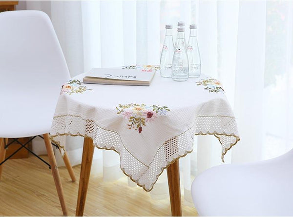 Cotton Embroidered Tablecloth for Dining Table, Tea Table, Piano Cover, Cabinit, Bedstand