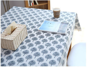 Milky White and Nave Blue Rectangle and Round Tablecloth for Dining Table, Tea Table, Cabinit, Bedstand