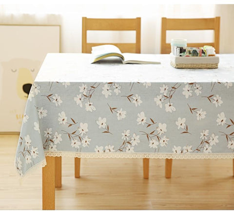 A Pic Cotton Light Blue Lily Tablecloth for Dining Table, Tea Table, Cabinit, Bedstand - Art Painting Canvas