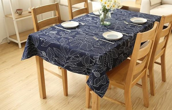 Brown / Navy Blue Leaves Rectangle and Round Tablecloth for Dining Table, Tea Table