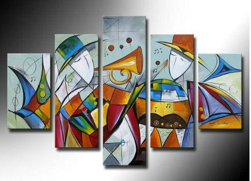 Extra Large Wall Art, 5 Piece Abstract Painting, Canvas Painting, Music Player Art