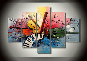 Abstract Painting, 5 Piece Canvas Painting, Electronic Organ Painting, Violin Painting