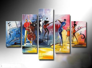 5 Piece Abstract Painting, Extra Large Painting, Cellist Painting, Flute Player, Drummer Painting - Art Painting Canvas
