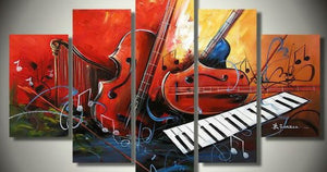 Music Abstract Painting, Electronic Organ Painting, Violin Painting, Harp, 5 Piece Abstract Painting