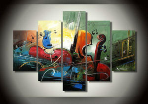 5 Piece Abstract Art, Cello Painting, Abstract Painting, Violin Painting, Bedroom Abstract Painting